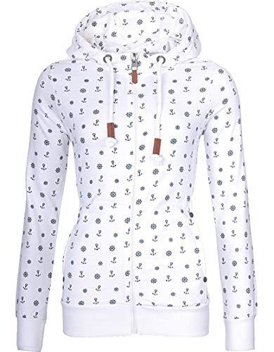 EwigYou Damen Kapuzenjacke Hoodie mit Fleece-Innenseite Sweatshirt Große Größen Übergangsjacke SweatjackeEU M/Herstellergröße XXL Weiß