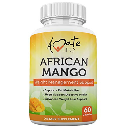 African Mango Seed Extract Irvingia Gabonensis Supports Metabolism and Fat Burning Weight Management Supplement Natural Metabolic Booster, Non-GMO Formula 60 Capsules Made in USA by Amate Life