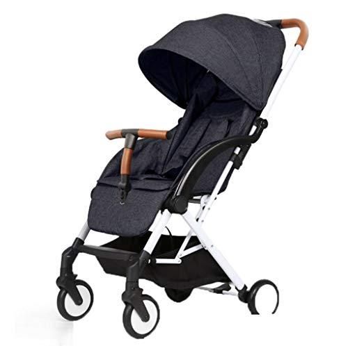 Baby kinderwagen - lederen armleuning/kan zitten liggend/vouwen/lichtgewicht baby kinderwagen verbreding van de slaapmand met één hand en een tweede vouwen, lichtgewicht maar stevig