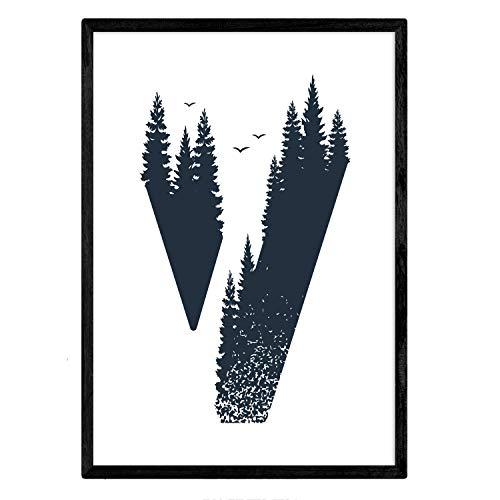Letra V con bosque y pajaros. Naturaleza.Posters de letras con diseño. Tamaño A4 sin marco