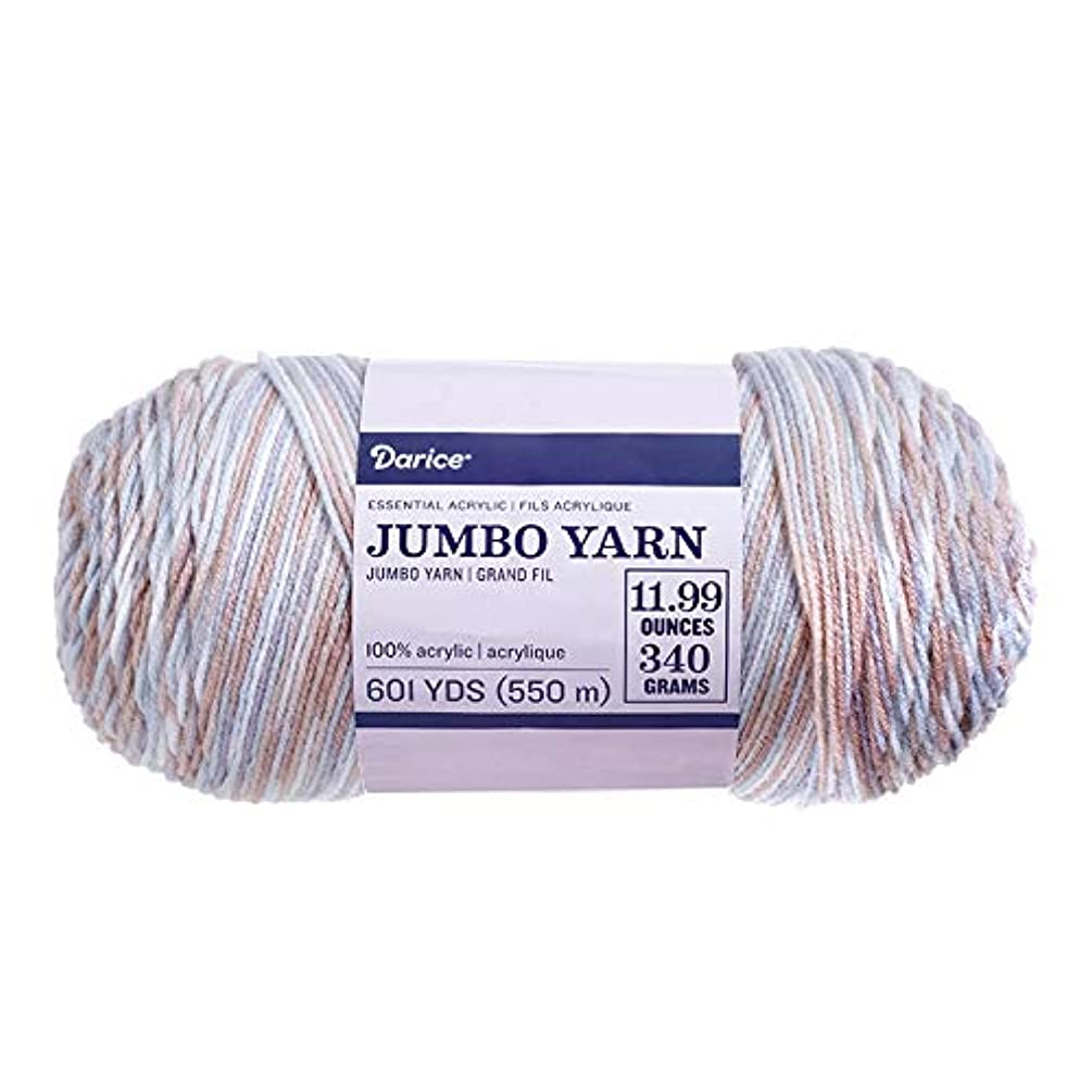 Darice 30066154 Multicolored Jumbo Grey/Beige, 11.99 Ounce Skein Yarn,