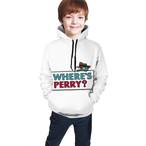 Sudaderas con Capucha Sudaderas de Manga Larga Donde Perry el ornitorrinco Phineas y Ferb Camiseta para niños Adolescentes Camiseta Unisex para Adolescentes