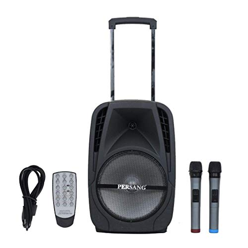 Persang Karaoke Trolley Speaker Dzire-BT 12 Inch Karaoke Bluetooth PA System Portable Trolley Speaker with 2 Wireless Mic, Remote Control, FM Radio and AUX/TF/USB (12 Inch 30.48 cm)