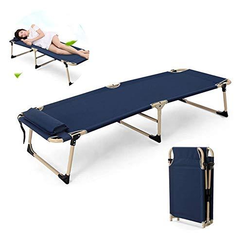 Hyy-yy, letto singolo pieghevole, letto da campeggio, 2 fogli pieghevoli, per persone, ufficio, lettino, pausa pranzo, 183 x 61 x 35 cm, blu