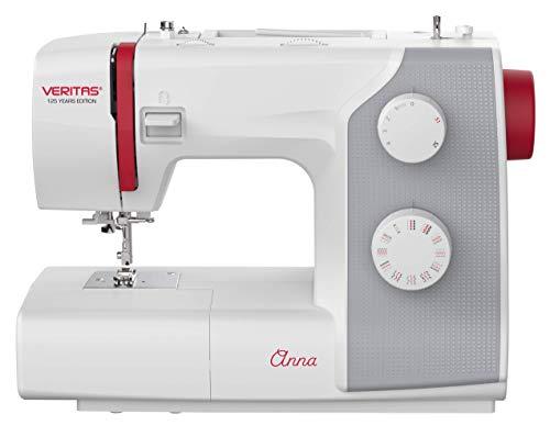 VERITAS Anna - Máquina de coser automática de ojal de 1 etapa, 32 programas de puntada, luz LED de costura, incluye agujas de marca y accesorios completos, edición de 125 años de aniversario