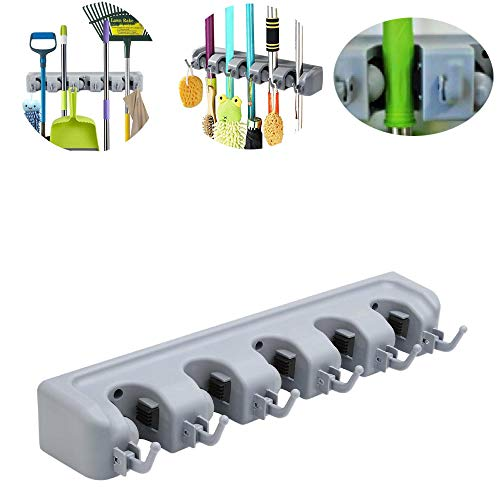 ZGL Broom Holder Wall Mounted,Wall Mounted Storage Organizer Tool with 5 Position 6 Hooks for Brush Mop,Broom, Rag, Umbrella ect Tool Storage