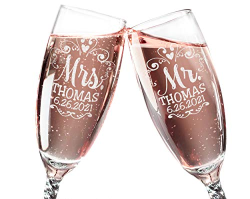 Mr Mrs Wedding Reception Celebration Twisty Stem Champagne Glasses Set of 2 Couples Newlywed Married Groom Bride Husband Wife Anniversary Engraved CLEAR Flute Glass Favors (Personalized)