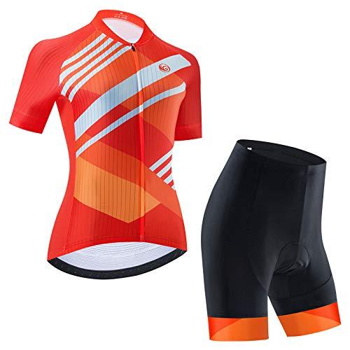Ciclismo Maillot Mujer Jersey + Pantalones Cortos Culote Mangas Cortas de Ciclismo Conjunto Ropa Equipacion 4D Gel Acolchado Transpirable Verano para Deportes al Aire Libre Ciclo Bicicleta,D5,XL