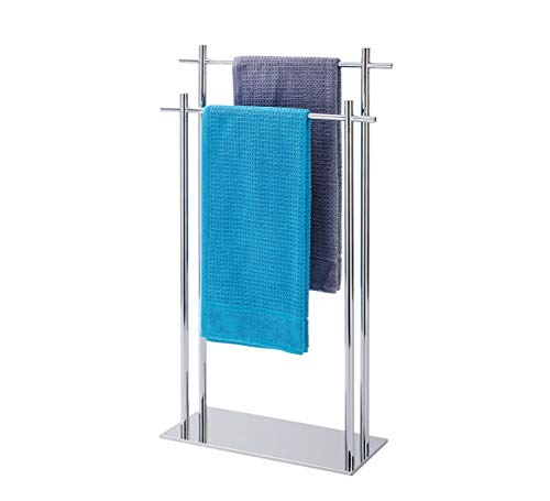 Wenko Handtuchhalter stehend edelstahl mit 2 Handtuchstangen, Kyoto Handtuchständer freistehend 2 armig für Bad Küche GästeWC