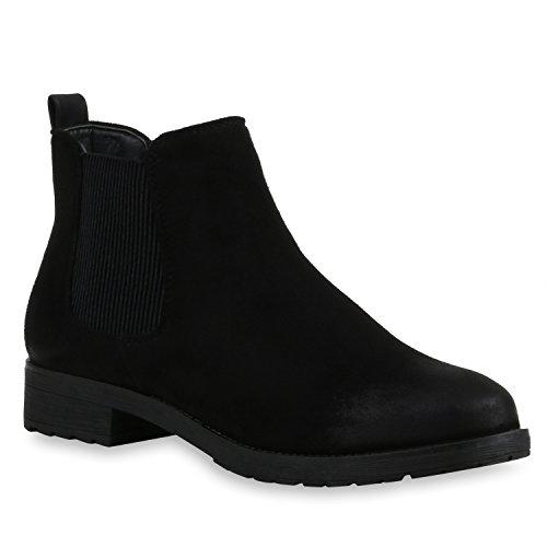 Stiefelparadies Damen Stiefeletten Chelsea Boots Gefütterte Ankle Booties Klassische...