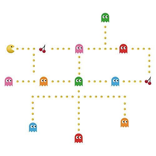 decalmile Pac Man Wandtattoo Kinderzimmer Wandsticker Entfernbarer Wandaufkleber Babyzimmer Schlafzimmer Wanddekoration