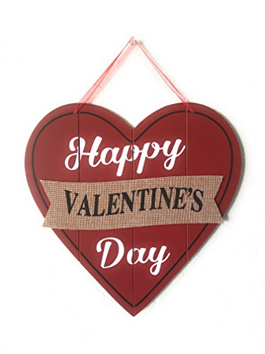 Happy Valentine's Day Heart Wooden Wall Decoration, Heart-shaped Red Wood & Burlap Decor, Valentine's Hanging sign Door Decor, Love Plaque Valentine's Day Door Decor, 11.5 x 11.5 in (Original Version)