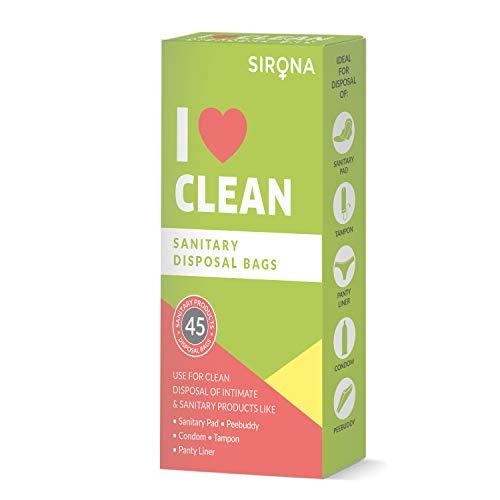 Sirona Sanitär Einwegbeutel - 45 Stück, für diskrete Entsorgung von Tampons, Kondome und Windeln, Sanitäreinlagen, Slipeinlage - Badezimmer-Müllb