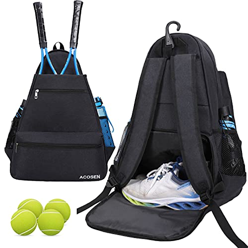ACOSEN Tennis Bag Tennis Backpack - Tennis Bags for Women or Men to Holds 2 Tennis Rackets, Pickleball Paddles, Clothes and Balls, Separate Ventilated Shoe Compartment (Black - B)