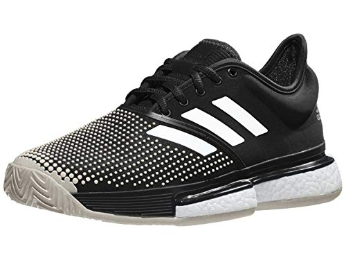 adidas Women's SoleCourt Boost Clay Tennis Shoe, Black/Black/White, 11 M US