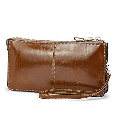 Lecxci Luxury Womens Genuine Leather Clutch Cell Phone Handbags, Zipper Wristlets Wallets Purse for Women