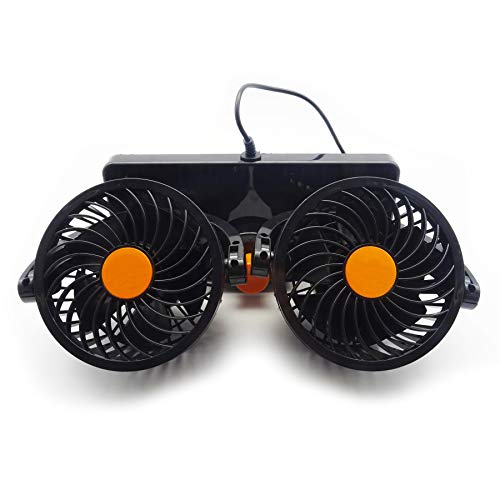 Rayline Auto Ventilator AT030 Kfz Lüfter Leise Zigarettenanzünder Doppellüfter 360° Drehbar für alle PKWs