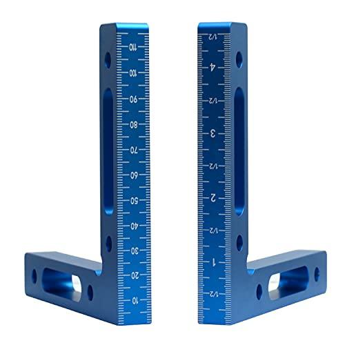 ASNOMY 2pcs cuadrados de posicionamiento de 90 grados 12cm x 12cm, abrazadera de esquina de 90 ° tipo L, esquina de aleación de aluminio, abrazadera de ángulo recto pinzas de ángulo recto