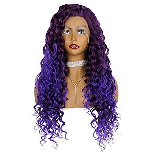 Synthétique Lace front perruques femmes's Curly/Loose CURL Purple Free part 180% densité synthétique cheveux couleur Gradiencuisse qualité pourpre perruque longue dentelle avant,22inch