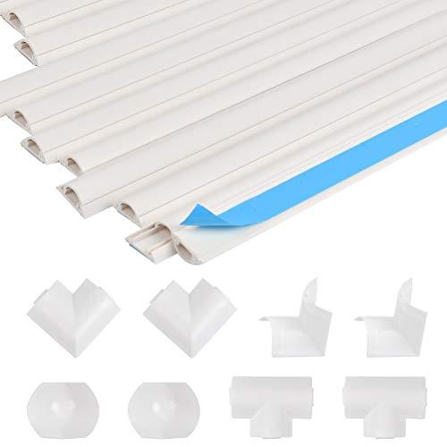 POKIENE 10 Stück kabelkanal Selbstklebender weiß, halbrunde kabelschacht für 2-4 Kabel - 3.3x1.2x40cm