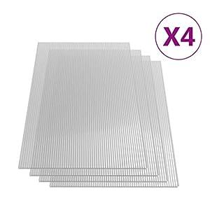 vidaXL 4x Paneles Lámina Placa de PC Cubierta Invernadero de Cámara Hueca Doble Pared Múltiple Ligero Fuerte de Policarbonato 4 mm 113x60,5 cm