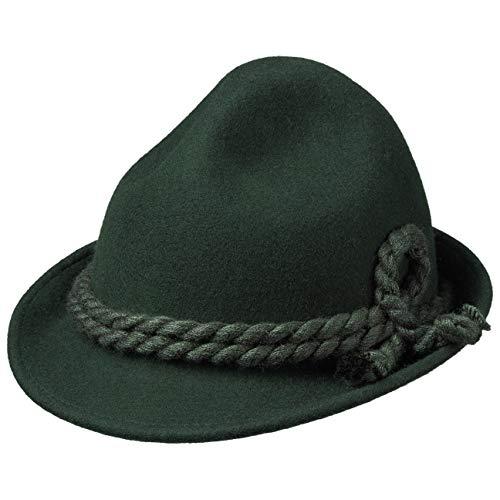 Hutshopping Kinder Dreispitz Wollfilzhut - Unifarbener Trachtenhut für Kinder - Sepplhut aus 100% Wollfilz - Wanderhut mit doppelter Kordel - Sommer/Winter grün 49 cm