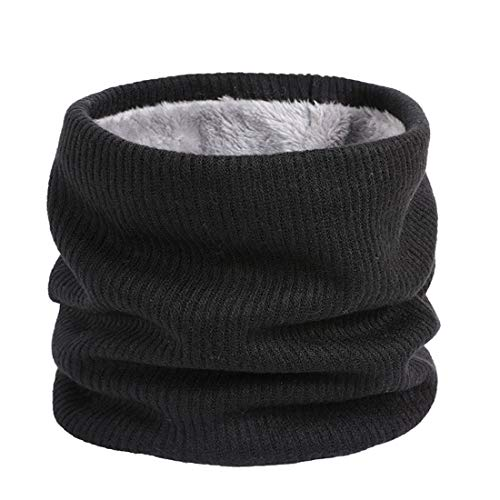 Lo Shokim Fleece Neck Warmer, Double Layer Black Infinity Neck Scarf, Circle Scarf for Men Boys, Extreme Cold Weather Gear