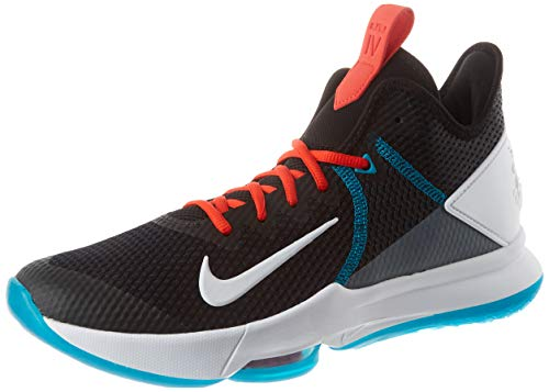 Nike Mens Lebron Witness IV Basketball Shoe, Black/White-Chile Red-Glass Blue, 44.5 EU
