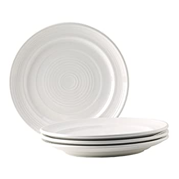 Tuxton Home Concentrix Dinner Plate  Set of 4  10 1/2  White  Heavy Duty  Chip Resistant  Lead and Cadmium Free  Freezer to Oven Safe up to 500F