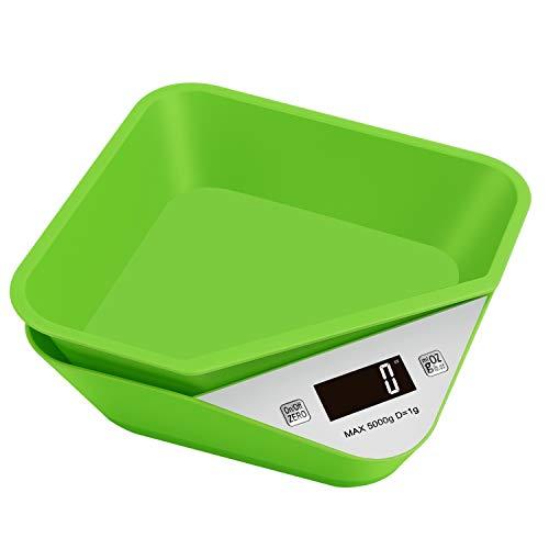 Brideal Küchenwaage Digitalwaage Professionelle Digitale Küchenwaage mit Abnehmbarer Schüssel,5kg/11lb Elektronische Waage für Backen & Kochen