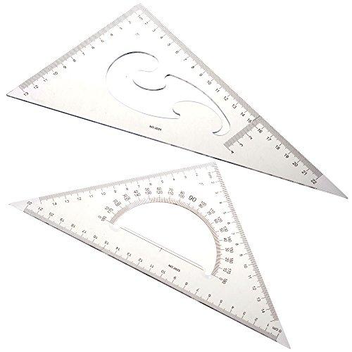 Bcp Conjunto de 2pcs 30/60, 45grados triángulo transportador regla Herramienta de dibujo