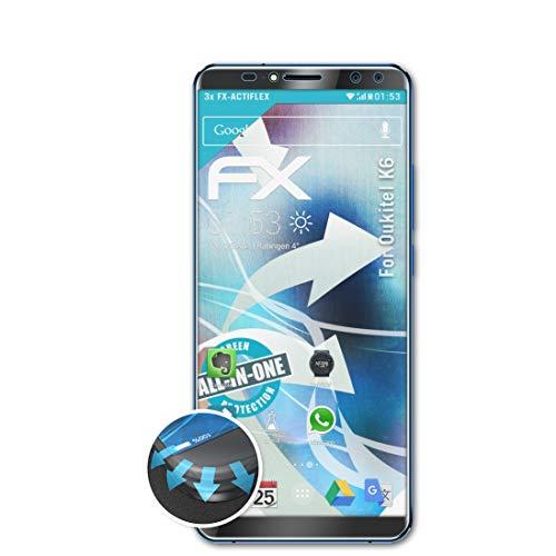 atFolix Schutzfolie kompatibel mit Oukitel K6 Folie, ultraklare & Flexible FX Bildschirmschutzfolie (3X)