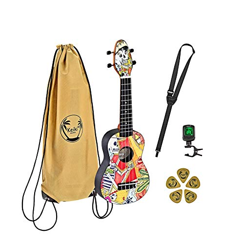 Ortega Guitars Soprano Ukulele - Keiki K2 designed mit Skelettmotiv - inklusive Tuner, 5 Medium Plektren & Kordelzugtasche mit Keiki-Logo - Kauri-Holz (K2-EM)