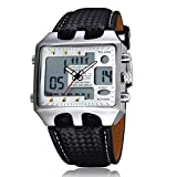 OHSEN Dual Time Big Face Analog Digital ALM Chime Day Date LED Mens Quartz Watch