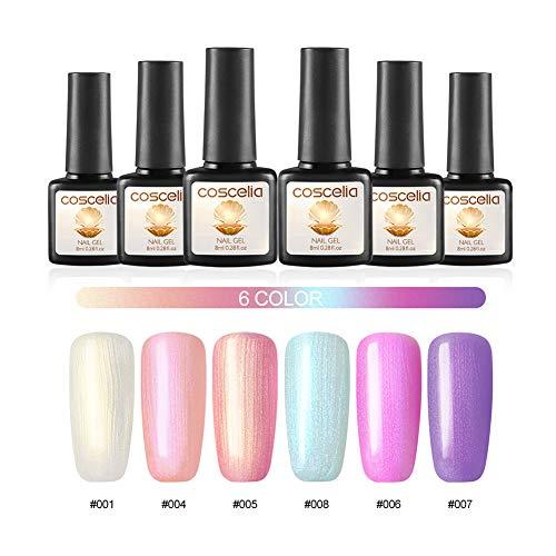 6pc Muschel Farben Nagellack Gel Nägel Set Nagellack Gel Polish Set Soak off UV Gel Lacken Set
