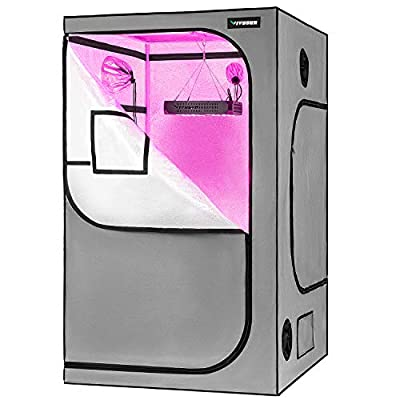 """VIVOSUN 48""""x48""""x80"""" Grow Tent with Observation Window and Floor Tray, Mylar hydroponic Tents for Plants 4x4 FT"""