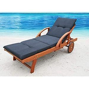 GRASEKAMP Qualität seit 1972 Auflage Anthrazit für Gartenliege Liegestuhl Sonnenliege Relaxliege