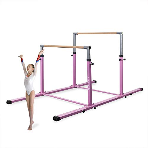 Matladin 3Play Double Horizontal Bars, Gymnastics Bars with Adjustable Height and Width, Upgraded Junior Training Bars for Kids