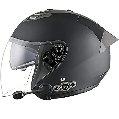 GAOZHEN Cascos Retro Bluetooth Warrior, Medio Casco de Motocicleta con Parasol para Hombres y Mujeres, tamaño Ajustable, Gorra de Calavera de Media Cara para Bicicleta, Crucero, helicóptero, Ciclo