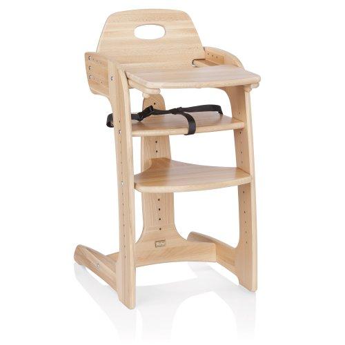 Herlag Hochstuhl Tipp Topp Comfort IV – der mitwachsende Kinderhochstuhl aus massivem Buchenholz – verstellbarer und langlebiger Babyhochstuhl – Sitztiefe 4-fach verstellbar – natur