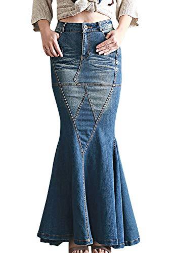 LISUEYNE Women's Casual Stretch Waist Washed Denim Ruffle Fishtail Skirts Long Jean Skirt