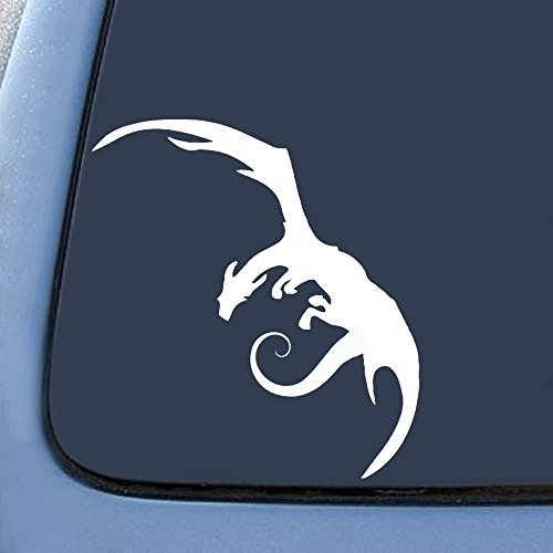 Autoaufkleber Smaug Drache, inspiriert von Bargain Max Herr der Ringe, 15,2 cm, Weiß