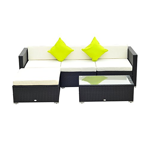 Outsunny 5PC Rattan Furniture Set Garden Outdoor Sectional Sofa Coffee...