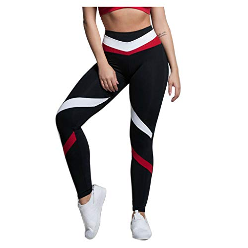 Fossen MuRope Pantalones Mujer Deporte Baratos Impresión Costuras a Rayas Moda -...