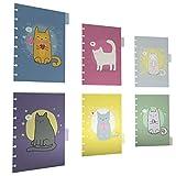 Discagenda 6 sezione divisori plastica durevole carino Kitten Cat per 6 Ring Planner Personal Organizer (A5 / Junior Size (5.8x8.3in), Discbound)