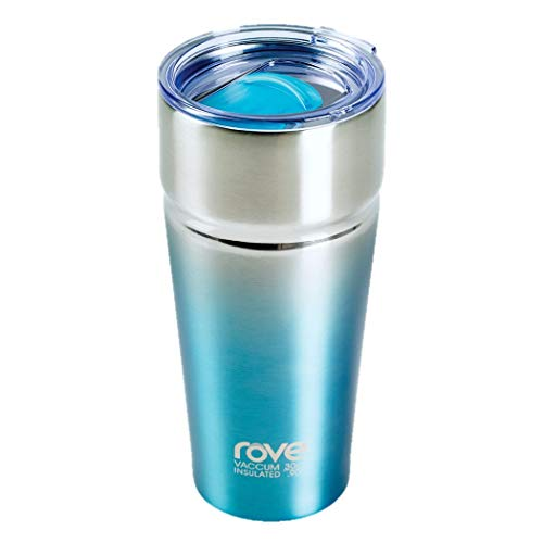 Rove Magnum 30 Ounce Stainless Steel Double Walled Vacuum Insulated Travel Tumbler Mug with BPA Free Side Slide Closing Lid (Blue)