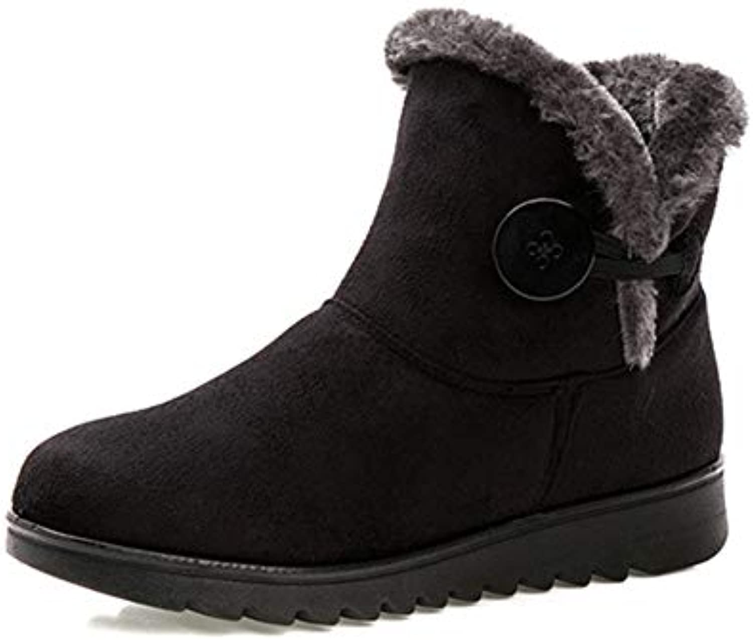 T-JULY Warm Fur Women Flat Platform Winter Flock Snow Ankle Boots Female Fashion Non-Slip Basic Snow Casual shoes