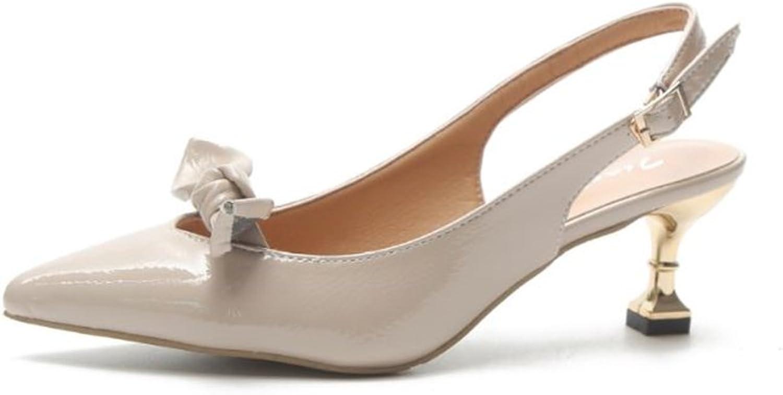 Xiaoyang Women's Thin High Heel Sweet Bow Knot Open Toe Dress Sandals