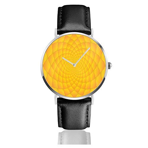 Abstrakte hellorange gelb Fibonacci abstraktes Muster Lederarmband Armbanduhr Casual Classic Edelstahl Quarz Business Uhr