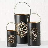 Home Collection Metall Leuchter Kerzenleuchter Windlicht 3er Set Sortiert H25-46cm schwarz Gold mit gestanztem Mandala Motiv